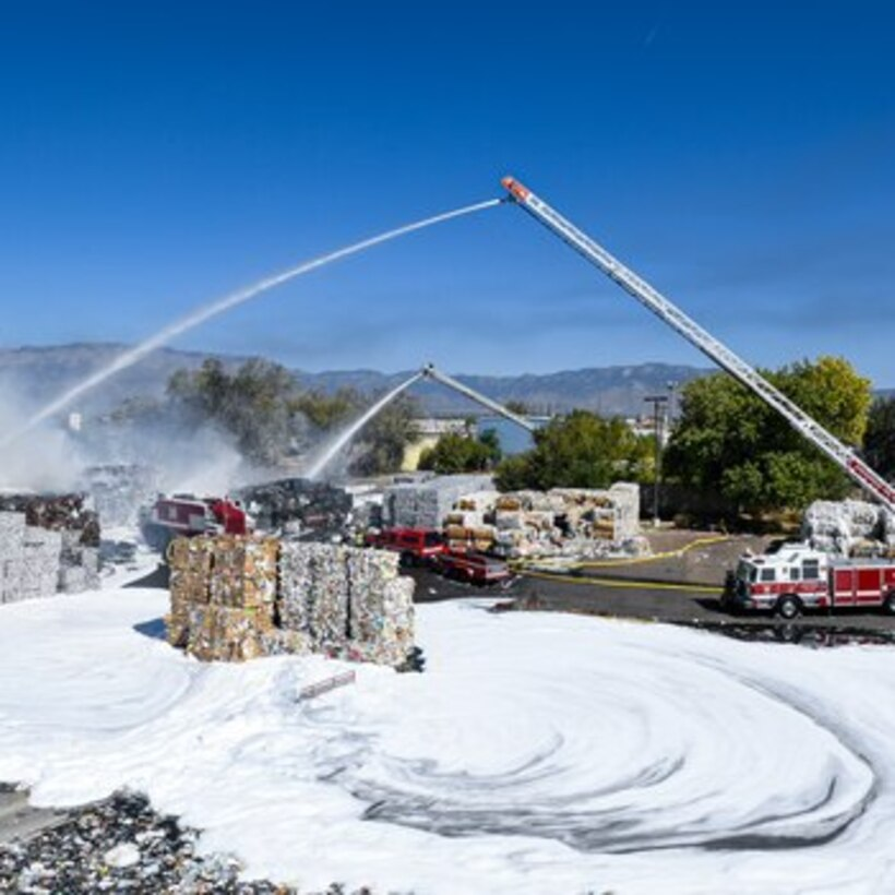 US Airforce firefighters deploying foam in Albuquerque NM