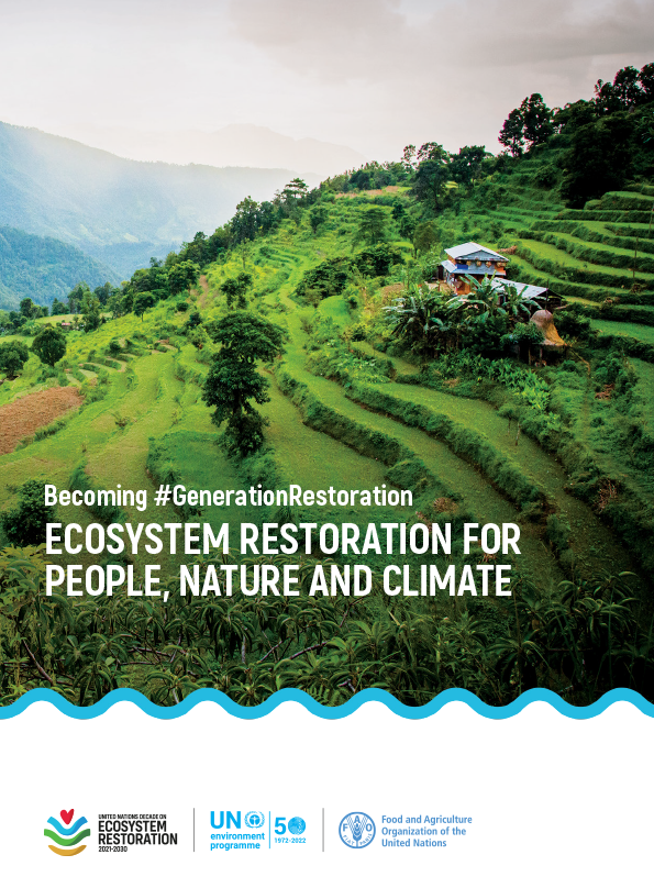 Cover of UNEP report Ecosystem Restoration for People, Nature and Climate