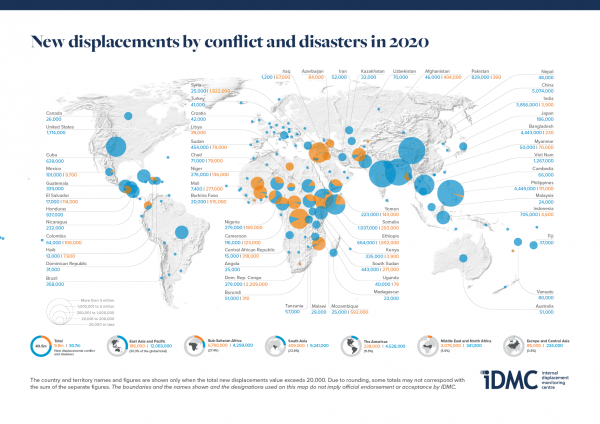 Global map of depicting internal displacement in 2020