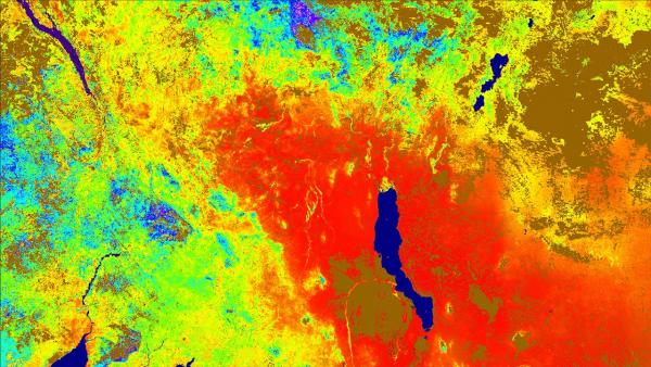 Colourful satellite image of evapotranspiration over east Africa Aug 13-20, 2018