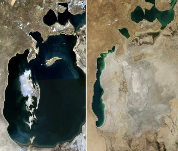 Satellite images of Aral Sea side-by-side showing water depletion between1989 and2014